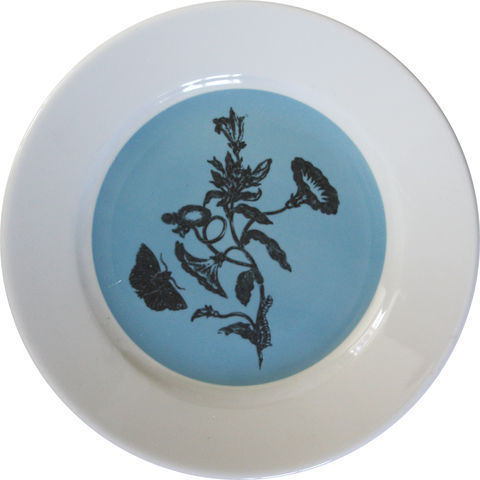 Blue,&,White,Thistle,Botanical,Decorative,Upcycled,Plate,Blue Decorative Botanical Plate Maria Sibylla Merian
