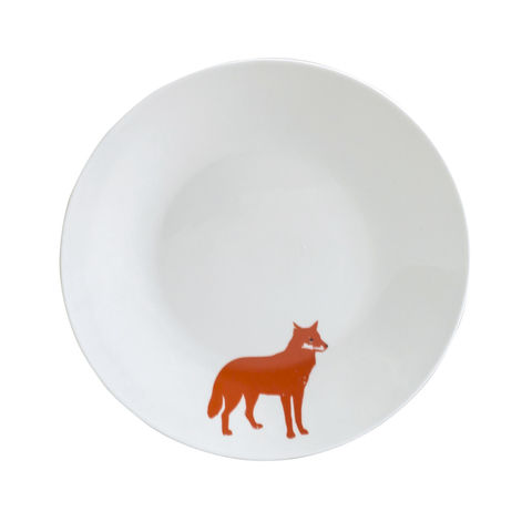 Orange,Fox,Tea,Plate, plate, black, decorated, refired, fox, orange