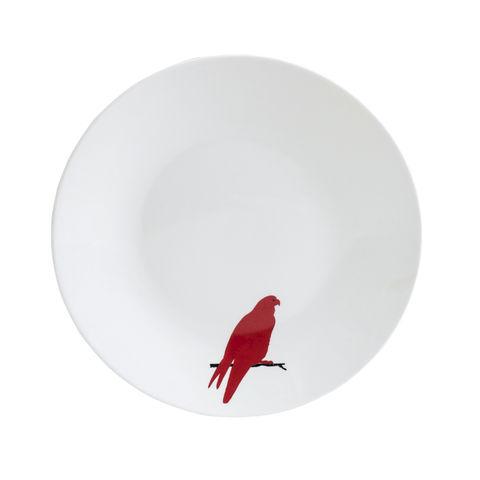 Red,Parrot,Tea,Plate,Teaplate, black, decorated, refired, parrot, red