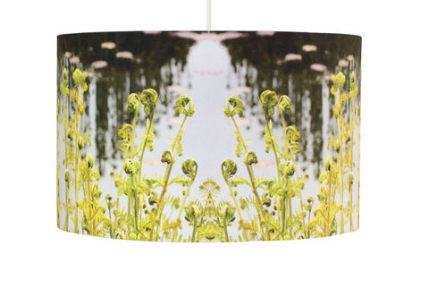 Green,Fern,Handmade,Drum,Pendant,Lamp,Shade, lamp, English, Gardens, Handmade
