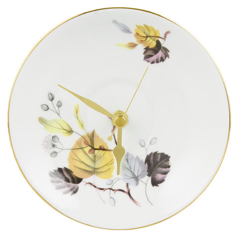Upcycled,Plate,Wall,Clock,-,Ashley,Queen,Anne,Vintage,Tea,Set,Yellow Leaves Vintage Upcycled Tea Plate  Wall Clock Queen Anne