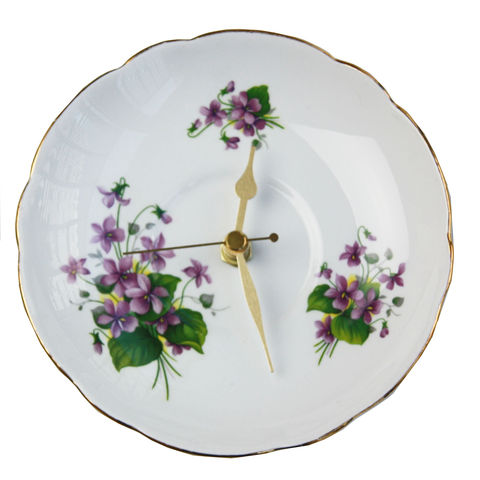 Small,Vintage,Plate,Wall,Clock,-,Violets,Small pheasant vintage orginal wall clock plates