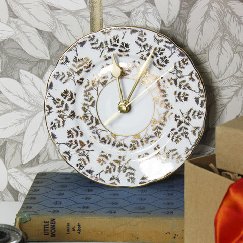 Vintage,Plate,Wall,Clock,-,Gold,Leaf,Small gold leaf vintage orginal wall clock plates gift