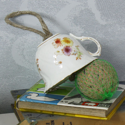 Vintage,Floral,Tea,Cup,Bird,Feeder,Pink and Blue Leaf Vintage Tea Cup Birdfeeder