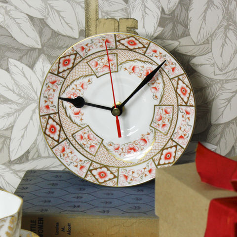Vintage,Orange,and,Gold,Tea,Saucer,Wall,Clock,vintage wall clock