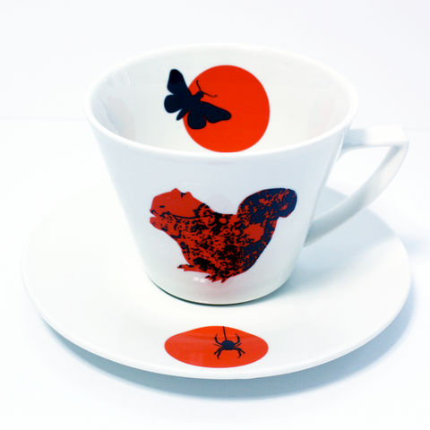 Large,Orange,Squirrel,Coffee,Cup,and,Spider,Saucer, Red, Orange, anton, black, decorated, refired
