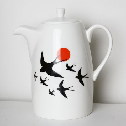 Swallows,Swooping,Coffee,Pot, Orange, anton, black, decorated, refired, large, tea, pot