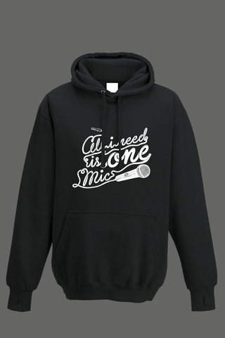 AVMotion,One,Mic,Hood,-,Black, Clothing, One Mic, black hood, 2015, 2016, women, men, unisex, sweatshirt, music, sales, discount, white print