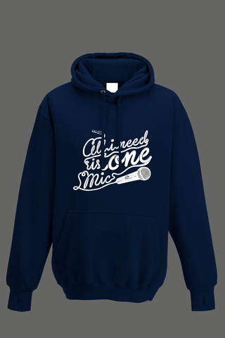 AVMotion,One,Mic,Hood,-,Navy,Blue, Clothing, One Mic, navy blue hood, 2015, 2016, women, men, unisex, sweatshirt, music, sales, discount, white print