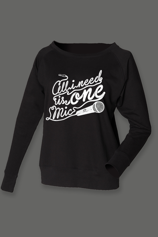 AVMotion,women's,One,Mic,sweatshirt,-,wide,neck,Black, Clothing, One Mic, black jumper, 2015, 2016, women, slounge, sweatshirt, music, sales, discount, white print, skinny fit, off shoulder