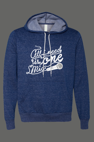 AVMotion,One,Mic,Hood,-,blue,with,white,flecks,(Special,Edition), Clothing, One Mic, blue hood, 2015, 2016, women, men, unisex, sweatshirt, music, sales, discount, white print, white flecks, specks, spots, splashes, Christmas present