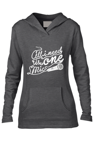 AVMotion,womens,One,Mic,Hood,-,Dark,Grey, Clothing, One Mic, dark grey hood, gray, 2015, 2016, women, sweatshirt, music, sales, discount, white print, fitted