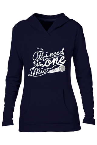 AVMotion,womens,One,Mic,Hood,-,Navy,Blue, Clothing, One Mic, navy blue hood, 2015, 2016, women, sweatshirt, music, sales, discount, white print, fitted