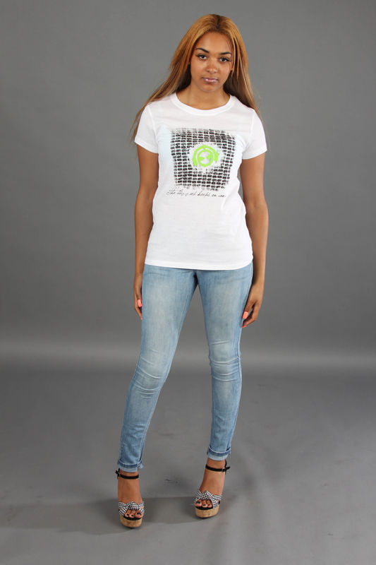 Female Brickwork T-shirt; green/lime/illuminous Logo - product images  of