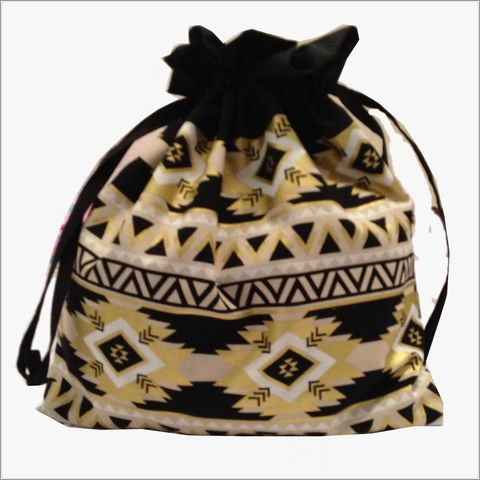 Large,Aztec,Design,Project,Bag,Project Bag, Knitting, Crochet, Sewing, Travel Bag, Accessory Bag, Large Project Bag, Drawstring Bag, Aztec Design, Black and Gold