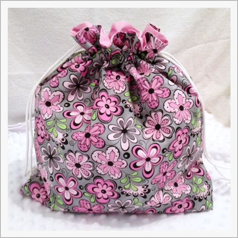 Large,Floral,Project,Bag,in,Grey,and,Pink,Project Bag, Knitting, Crochet, Sewing, Travel Bag, Accessory Bag, Large Project Bag, Drawstring Bag, Grey Flowers, Floral Bag
