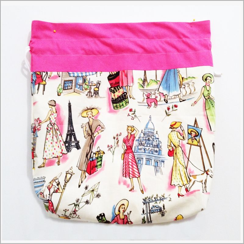 Large Vintage Paris Project Bag in Pink and White - product images  of