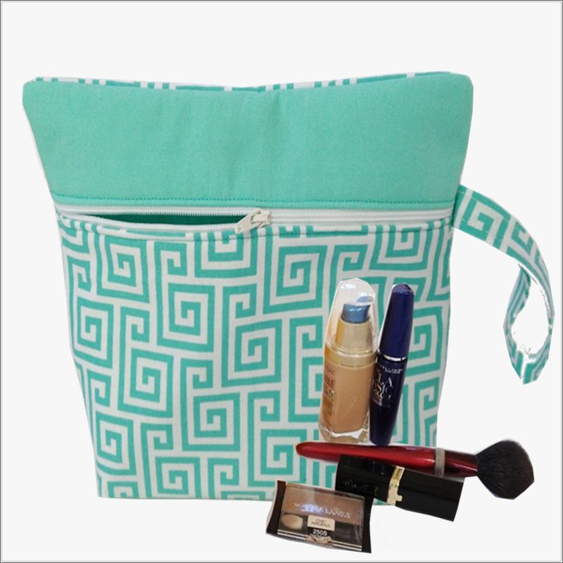 Aqua Blue Geometric Design Makeup Wristlet Bag - product images  of