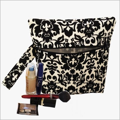 Black,,Cream,Damask,Makeup,Bag,Wristlet,Clutch,makeup clutch, makeup bag, wristlet clutch, lined makeup bag, Black Damask Wristlet, Black, Makeup Bag