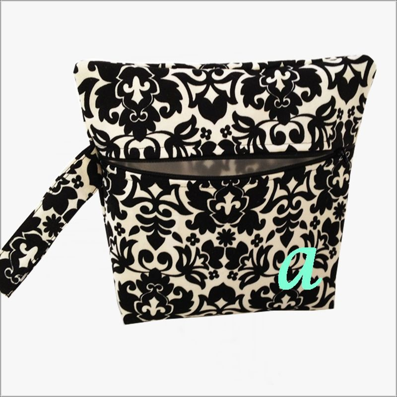 Black, Cream Damask Makeup Bag Wristlet Clutch - product images  of