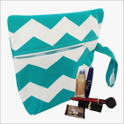 Turquoise,and,White,Chevron,Makeup,Wristlet,Clutch,Turquoise Wristlet, Turquoise Chevron Makeup Bag, Blue and White Chevron, Makeup Bags, Chevron Wrislets, Bridal Gifts
