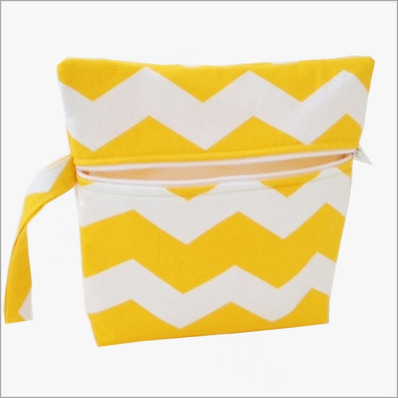 Yellow and White Chevron Makeup Bag Wrislet Clutch - product images  of