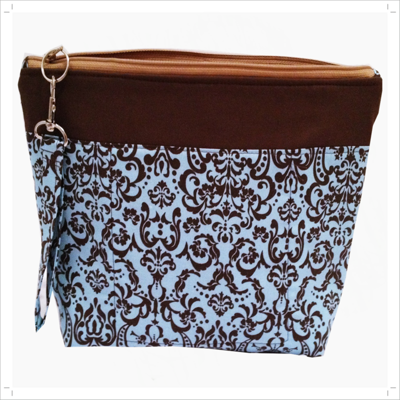 Blue Damask, Chocolate Brown Project, knitting, craft bag - product images