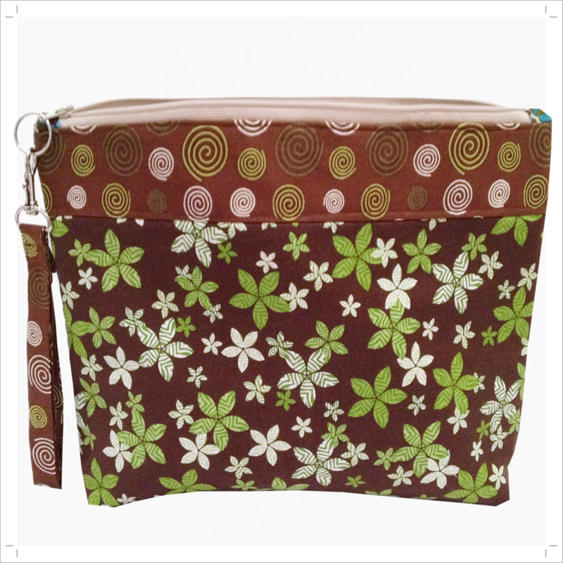Brown-Green Floral and spiral Project, knitting, craft bag - product images  of