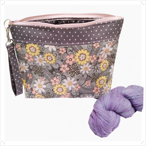 Project,Bag,in,Pink,,Grey,,Yellow,and,White,Project Bag, Knitting, Crochet, Sewing, Travel Bag, Accessory Bag, Large Project Bag, zippered Bag, Grey, white, yellow Flowers, Grey and White Pin Dot, Zipper