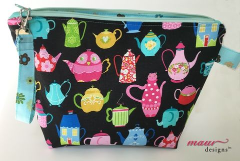 Funky,Tea,and,Coffee,Pots,Project,Bag,Tea pot project bag, Coffee pots Project Bag, kitty, owls, elephant