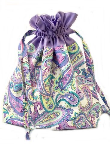 Large,Paisley,Drawstring,Project,Bag, Project Bag, Knitting, Crochet, Sewing, Travel Bag, Accessory Bag, Large Project Bag, Drawstring Bag, Grey Flowers, Floral Bag