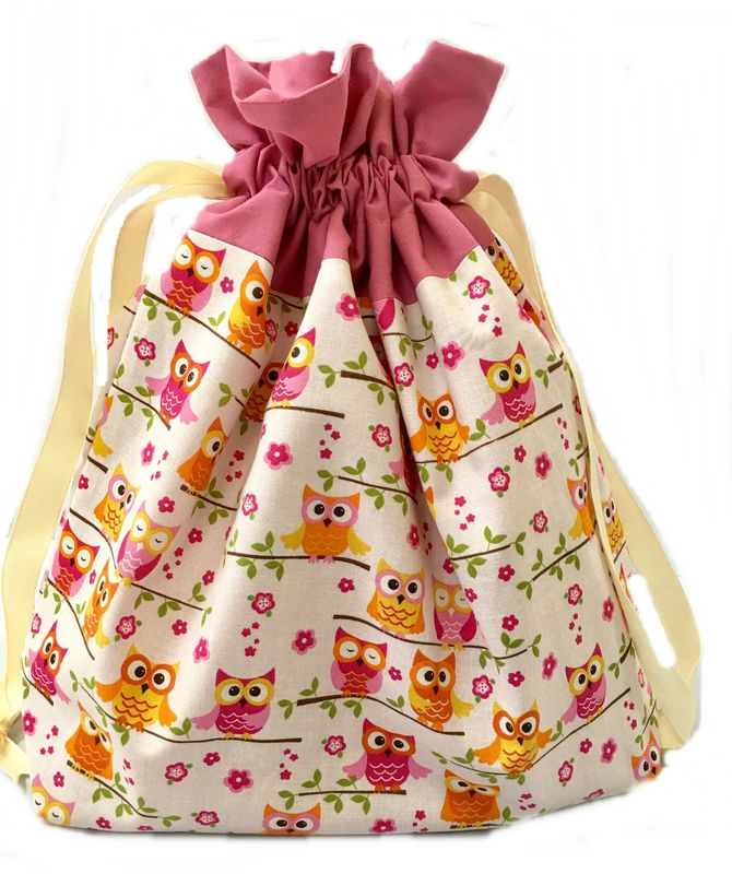 Large Pink and Orange Owls Project Bag - product images  of