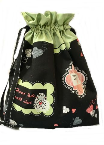 Large,Knit,Saying,Project,Bag,Project Bag, Knitting, Crochet, Sewing, Travel Bag, Accessory Bag, Large Project Bag, Drawstring Bag,