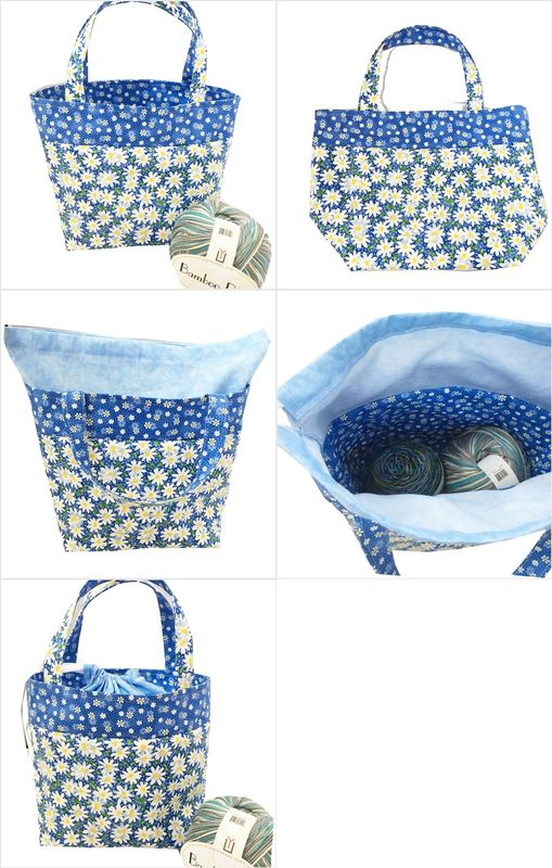 Daisy Blue Pop-Up Sock Project Bag - product images  of