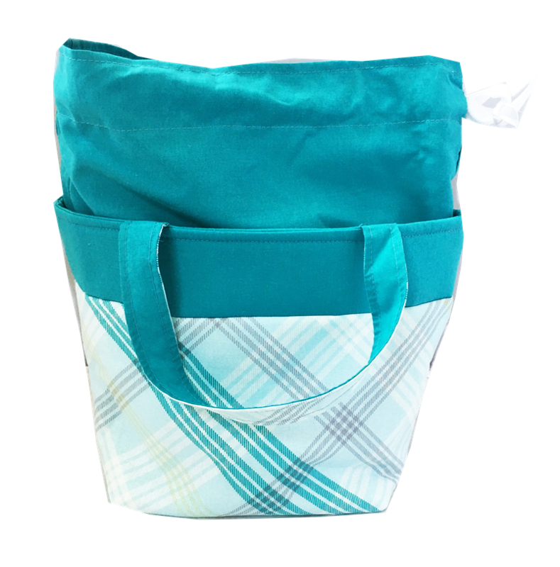 Turquoise Blue Plaid Sock Pop Up Project Bag - product images  of