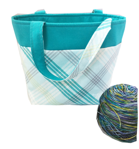 Turquoise,Blue,Plaid,Sock,Pop,Up,Project,Bag,project bag, knitting, crochet, blue plaid