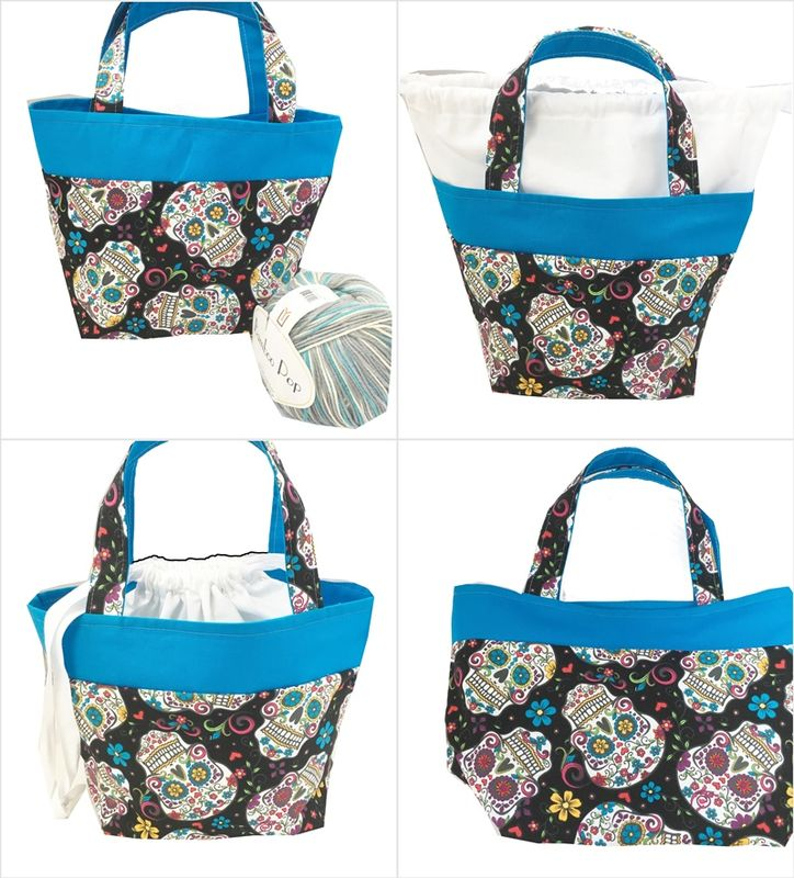 Sugar Skull Sock Pop Up Project Bag - product images  of