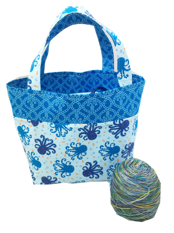 Seascape,Octopus,Shawl,Pop,Up,Project,Bag,Octopus bag, blue, knitting, crochet