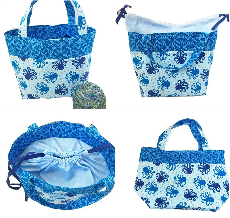Seascape Octopus Shawl Pop Up Project Bag - product images  of