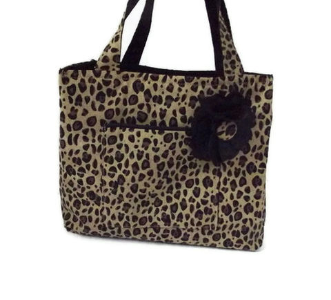 Leopard,Small,Tote,Bag,with,Flower,Accessory,Leopard Tote Bag for girls, animal print totes, small purses for girls