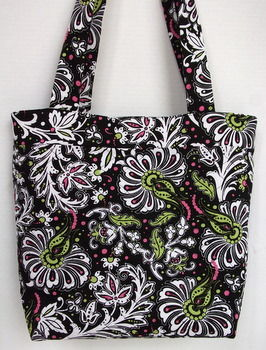Quilted,Black,Floral,Tote,Bag,Quilted Tote Bag