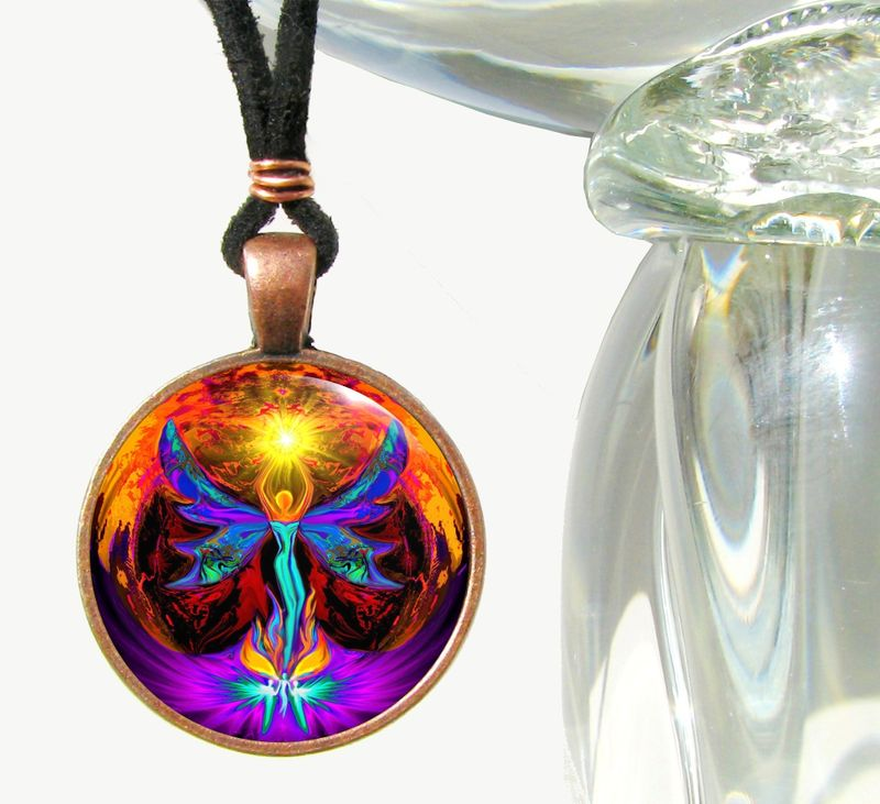 "Chakra Jewelry, Angel Art, Rainbow Necklac, ""Phoenix Rising"" - product images  of"