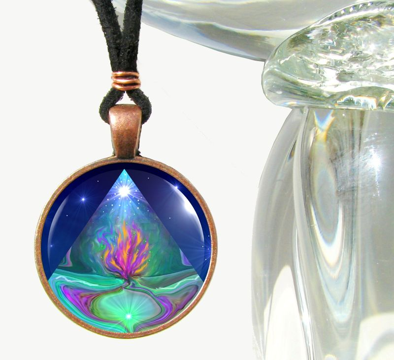 "Violet Flame Necklace, Pyramid Jewelry, ""Mystic Pyramid""  - product images  of"