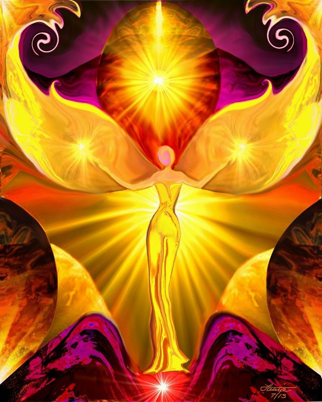 Third Chakra, Yellow Angel Art, Reiki Healing