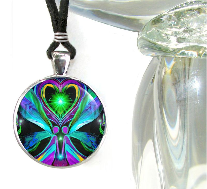 "Twin Flames Pendant, Angel Heart Necklace, Spiritual Jewelry ""Unconditional Love"" - product images  of"