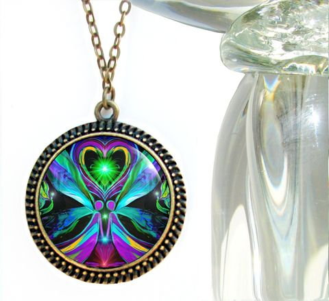 Twin,Flames,Necklace,,Angel,Heart,Pendant,,Chakra,Jewelry,Unconditional,Love,chakra jewelry, chakra art, twin flames, reiki art, reiki jewelry, angel necklace, love, hippie, boho, psychedelic, abstract, pendant, pendant necklace, angels, twin souls, gypsy, meditation, energy healing,