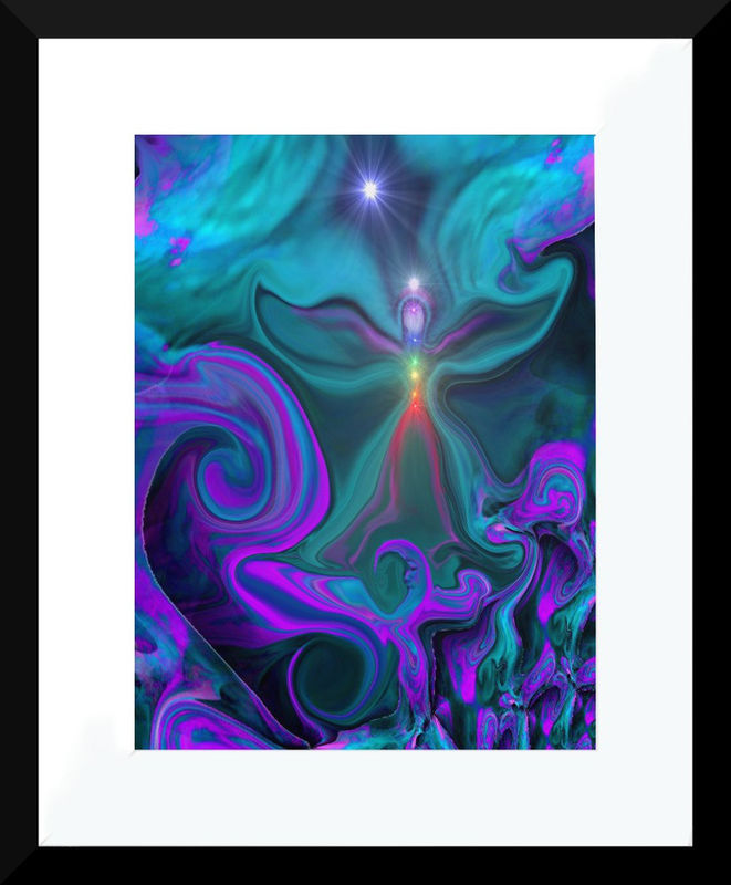 "Chakra Angel, Reiki Healing, Energy Art, Blue Violet Wall Decor ""Chakra Angel"" - product images  of"