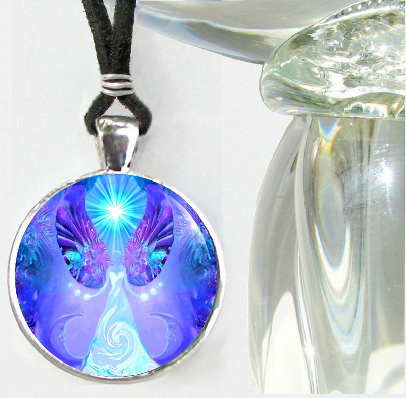 "Handmade Violet Angel Necklace, Feminine Jewelry ""Hope"" - product images  of"