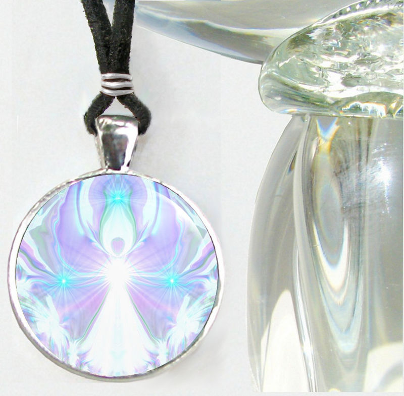 "Crown Chakra Necklace, Violet White Pendant, Unique Jewelry ""On the Wings of Angels"" - product images  of"