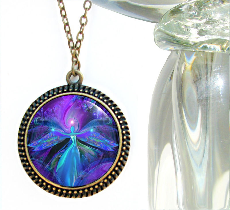 "Angel Necklace, Purple Jewelry, Third Eye Chakra ""The Seer"" - product images  of"